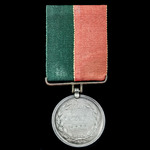 Ghuznee Medal 1839, fitted with silver clip and period straight bar hinged suspension, reverse er...