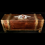 Arts & Crafts style oak presentation casket, probably originally for a freedom or address of welc...