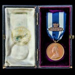 Jubilee Medal 1887 in Bronze with the 1897 clasp. Housed in its Wyon fitted presentation case. On...