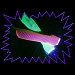 Blacklight UV-Reactive Neon Fluorescent Dayglo Fishnet Rave Gloves