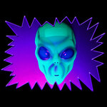 UV-Reactive Neon Fluorescent Glow Alien Face Mask