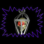 Hanging Skull In Cage With Flashing LED Eyes