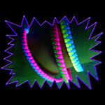 Blacklight UV-Reactive Neon Fluorescent Dayglo Reactive Zipper Bracelet