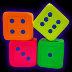 Giant UV Reactive Neon Fluorescent Foam Dice 15cm diameter (set of 4)