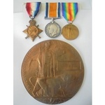 A 1914-15 Star Trio, Memorial Plaque and Memorial Scroll to Private J. Riley, Loyal North Lancash...