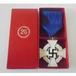 Germany. Third Reich. Faithful Service Cross in silver, in 'R. Souval, Vienna' box of issue.