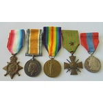 A Gazetted French Croix de Guerre Group of 5 Medals to Corporal V.A. Smith, Middlesex Regiment