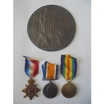 A Mons Trio and Plaque to Gunner F. Newcomb, Royal Field Artillery, who died of wounds on 15th No...