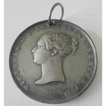 Queen Victoria Coronation Medal 1838,, 55mm, in white metal, with a ring suspension