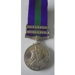 General Service Medal 1918-62, Eliz II, two clasps, Near East and Cyprus named to 23462588 Privat...