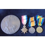 A 1915 Star Trio and Memorial Plaque to Private R.M. Griffiths, Yorkshire Light Infantry, died of...