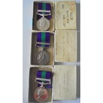 Lot of 3 boxed General Service Medal 1918-62, Eliz II, clasp Cyprus named to a) 23377245 Private ...