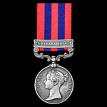 India General Service Medal 1854, clasp: Hazara 1888; (906 SOWAR. ABIZAR KHAN 15TH: BL: CAVY:) Aw...