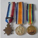 Miniature Group of 3: 1914 Star with loose bar 5th Aug-22nd Nov, British War Medal and Victory Me...