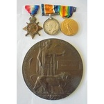 A Mons Trio and Memorial Plaque to Private J. Burck, 2nd Scottish Rifles (Cameronians), who died ...