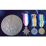 A Mons Trio to Private G. White, 2nd Battalion, West Yorkshire Regiment, an early 1915 Casualty w...