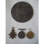 A Mons Trio and Plaque to Private J. Gobbey, 4th Battalion, Royal Fusiliers, who died of wounds o...