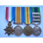 A Unique Somerset Light Infantry 3 Bar India General Service Medal and Great War Group of 4 Medal...