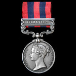 India General Service Medal 1854, clasp: Burma 1885-7; (36703 GUNR: A. LATHAM. NO: 8. BY: 1ST: BD...