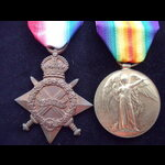 1914/15 STAR & VICTORY MEDAL to 11723 PTE George BRIDGE 6th WILTSHIRE REGT. Served on the Western...