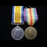 BWM & VICTORY MEDAL to 34309 DVR James William  COTTON  'B' Battery, 181st Brigade R.F.A. Wounded...