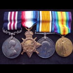 GvR MM & 1914/15 TRIO to SJT FOXCROFT 1/D.A.C. R.F.A. (Trench Mortar Bty; POW 1918)