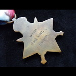 1914 STAR to 3-7224 PTE Alfred OST 1st BEDFORDSHIRE REGT.  To France 11/11/14. Discharged 7/11/18...