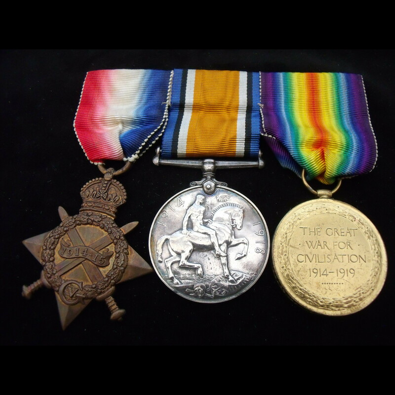 1914/15 TRIO to 9943 PTE Herb. | Great War Medals