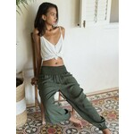 The Aladdin  in Olive Green Crepe