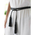 Twisted Black Leather Tassel Belt