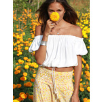 Cropped Gypsy Top - White
