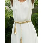 Gold Twisted Leather Tassel Belt
